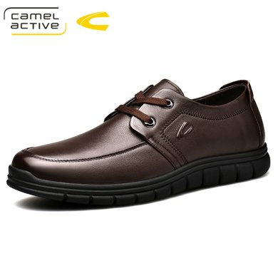 德國駱駝動感休閑男皮鞋系帶牛皮皮鞋爸爸鞋時尚舒適軟面低幫皮鞋 18160