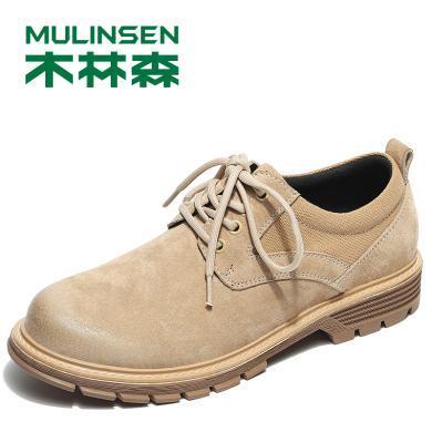 木林森男鞋子秋季工装鞋英伦潮鞋低帮马丁鞋休闲大头皮鞋 280106