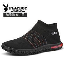 花花公子男鞋子2018秋季新款韩版潮流运动休闲鞋高帮袜子鞋男潮鞋CX39515