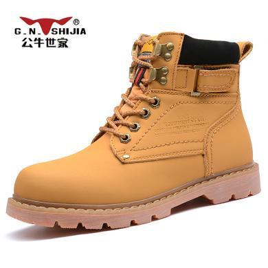 公牛世家馬丁靴男高幫大黃靴工裝皮靴子英倫短靴男士戶外雪地靴潮流 888599