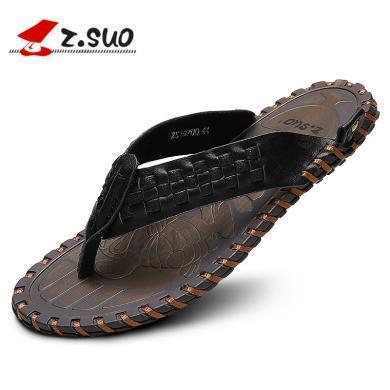 Z.Suo/走索男士拖鞋編織頭層牛皮涼鞋男休閑潮夾腳涼拖鞋透氣 ZS19700