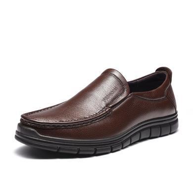 富贵鸟休?#34892;?男士套脚休闲皮鞋 耐磨厚底男皮鞋 S909123