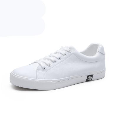 人本秋季皮面防水白色板鞋男低幫韓版休閑鞋子男士潮流平底鞋