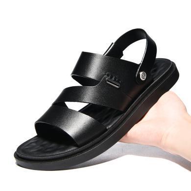 公牛世家涼鞋男鞋2019新款夏季韓版潮流休閑沙灘鞋軟底兩用涼拖鞋 888670
