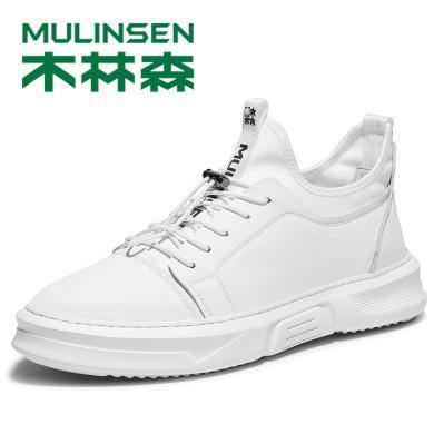 木林森男鞋春季潮鞋2019新款鞋子韓版潮流男士休閑鞋百搭牛皮板鞋298020