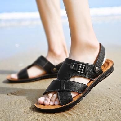 公牛世家凉鞋男夏季新款两用牛皮沙滩鞋男士防滑软底爸爸凉拖鞋男 8881881