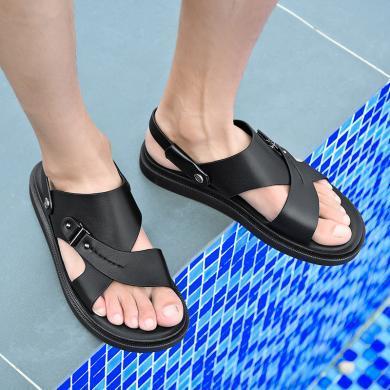 公牛世家涼鞋男夏季2019新款牛皮涼拖鞋男士按摩軟底休閑沙灘鞋男 888673