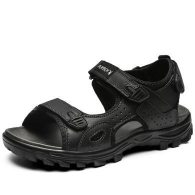 花花公子男鞋夏季新款透氣涼鞋男士防滑軟底沙灘鞋真皮休閑鞋子男CX9576