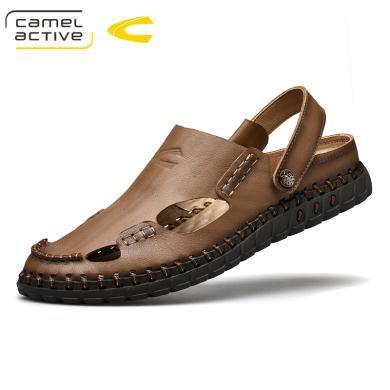 德国骆驼动感凉鞋男士头层牛皮时尚潮流夏季新款包头搭扣沙滩鞋子男 19305