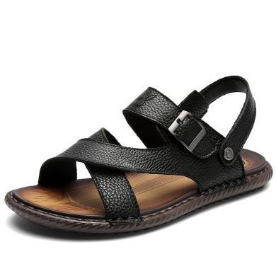 花花公子男鞋夏季透氣皮涼拖男士韓版真皮兩用羅馬鞋沙灘涼鞋子潮CX9579