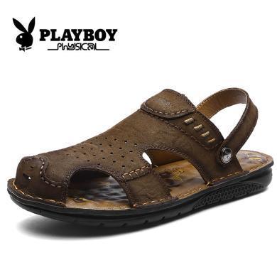 花花公子男鞋夏季2019新款涼鞋男休閑鞋沙灘鞋包頭男涼鞋拖鞋兩用CX9557
