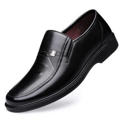 老人頭男鞋透氣休閑皮鞋男真皮軟底商務皮鞋套腳爸爸鞋子75026-1