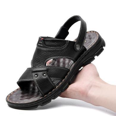 公牛世家涼鞋男夏季韓版牛皮男士沙灘鞋防滑軟底中年涼鞋男涼拖鞋 8881884