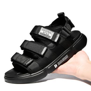 公牛世家凉鞋男夏季2019新款增高休闲男鞋韩版潮流百搭男士沙滩鞋 888677