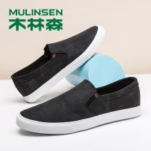 木林森男鞋夏季帆布鞋迷彩百搭懒人鞋透气套脚板鞋子1505