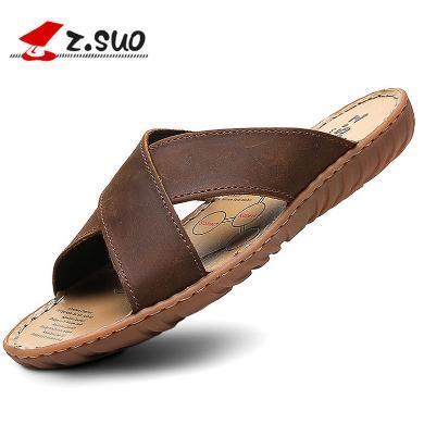 Z.Suo/走索男士拖鞋夏季牛皮涼拖男休閑外穿涼拖鞋韓版時尚沙灘鞋潮 ZS617N