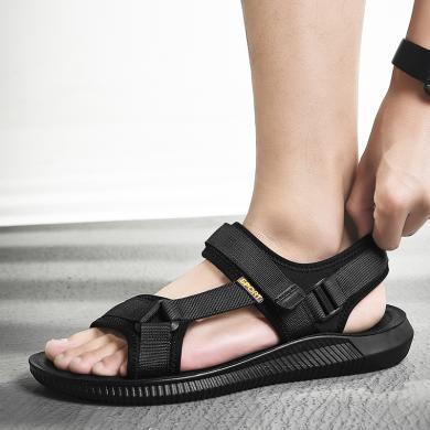 公牛世家男鞋夏季休闲运动凉鞋男士韩版潮流沙滩鞋学生露趾凉拖鞋 888674