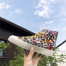 新款高幫臉譜帆布鞋硫化鞋板鞋夏季透氣潮鞋印花帆布鞋 YX-122