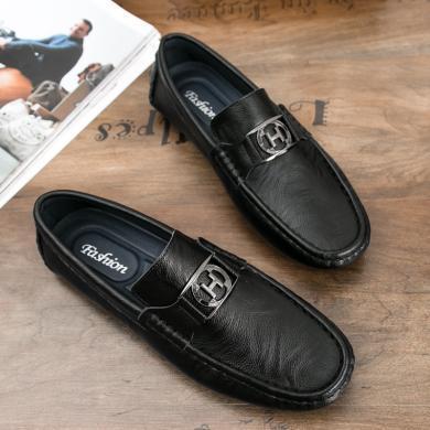 歐倫堡春秋時尚套腳低幫真皮男士豆豆鞋H6116