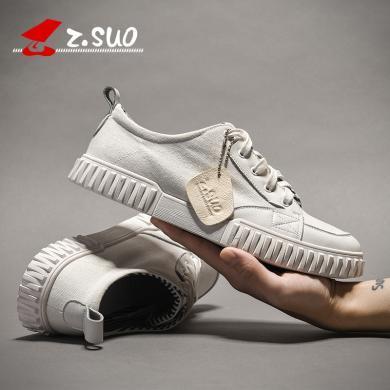 Z.Suo/走索帆布鞋男2019新款男鞋透氣百搭鞋子男潮鞋時尚小白鞋板鞋 W732