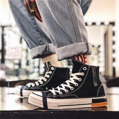 美駱世家男鞋潮鞋2019新款學生板鞋子男百搭秋季透氣高幫帆布鞋男四季板鞋YG-L003