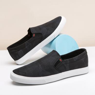 木林森男鞋夏季帆布鞋迷彩百搭懶人鞋透氣套腳板鞋子86181505