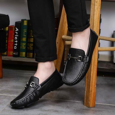 OKKO新款商務休閑鞋男士休閑皮鞋懶人鞋輕便豆豆鞋套腳駕車鞋KBLK-D628