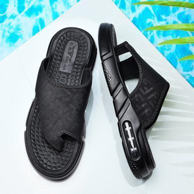 公牛世家男拖鞋時尚透氣氣墊底舒適軟底耐磨輕質男士外穿沙灘鞋 888703