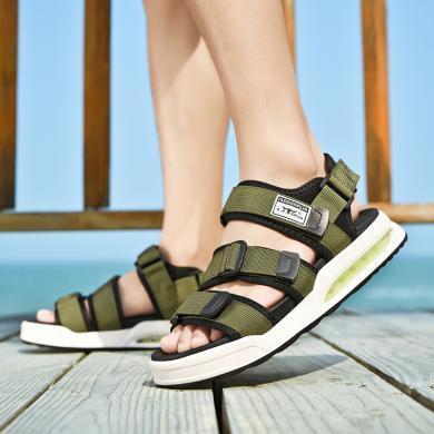 公牛世家凉鞋男ins潮厚底增高夏季透气外穿男士凉鞋防水气垫沙滩鞋子  888708