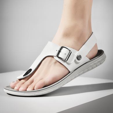 公牛世家男士透氣涼鞋夏季新款男鞋日常休閑人字拖鞋涼拖兩穿沙灘鞋 888705