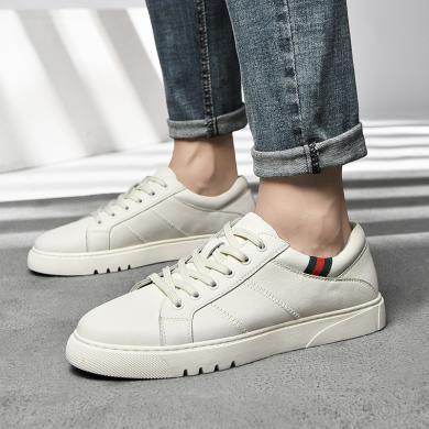 公牛世家男鞋夏季透气牛皮休闲白色板鞋薄网红小白鞋抖音同款洋气 888719