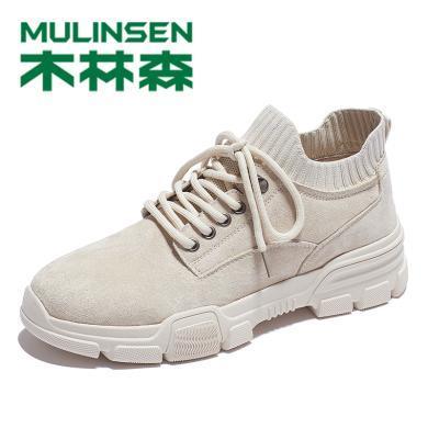 木林森男鞋秋季2019新款高幫馬丁靴百搭襪子鞋復古英倫工裝短靴子M9326049