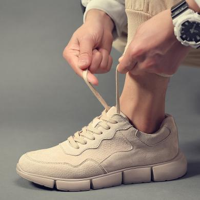 SIMIER男士秋季真皮板鞋英倫磨砂百搭休閑男鞋輕便軟底復古工裝潮鞋ZA26028ZA26028