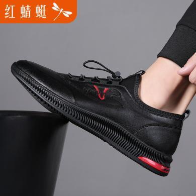紅蜻蜓男鞋時尚休閑皮鞋男士休閑鞋191295