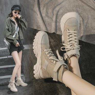 OKKO潮牌2019秋冬新款女鞋厚底馬丁靴帆布透氣短靴時尚沙漠靴高幫靴子女MX-M22