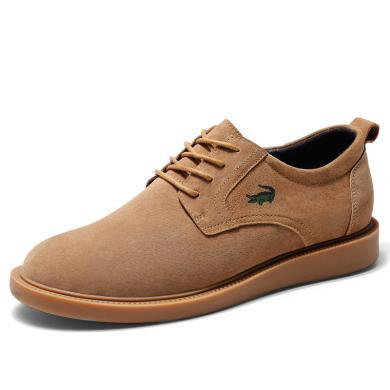 卡帝乐鳄鱼新款?#34892;?#30007;士休闲皮鞋男英伦男潮百搭系带复古板鞋子男KDL6506