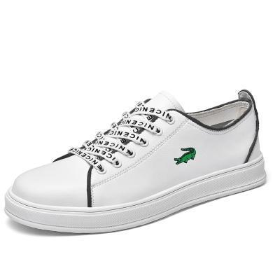 卡帝乐鳄鱼男鞋2019新款透气休闲板鞋情侣板鞋潮流运动鞋真皮小白鞋子KDL5005