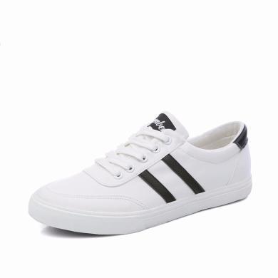 人本帆布鞋男 经典双杠情侣鞋2019新款鞋子 韩版小白鞋平底板鞋8366