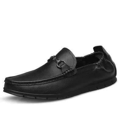 卡帝樂鱷魚男鞋春季懶人豆豆鞋真皮軟面休閑皮鞋韓版平底透氣鞋子KDL6516