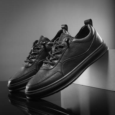 SIMIER2019秋冬新款男鞋英伦风休闲板鞋平底运动休闲鞋黑色潮鞋CNG-SX005