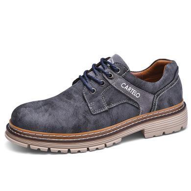 卡帝樂鱷魚2019新款英倫男鞋潮流真皮馬丁鞋男大頭工裝鞋戶外休閑皮鞋KDL6523