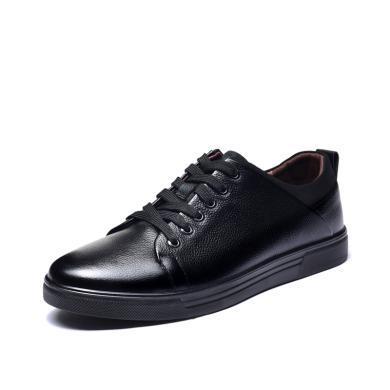 富貴鳥時尚休閑皮鞋拼接系帶板鞋頭層牛皮男鞋子 A703859