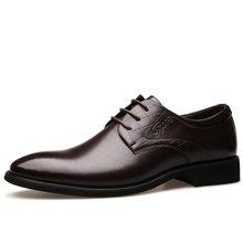 俊斯特 2016新款典雅气质型男士尖头商务皮鞋舒适系带男鞋