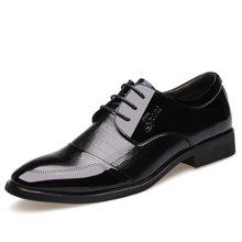 俊斯特新款男士奢华正装商务皮鞋耐磨系带尖头男鞋子