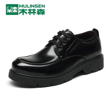 木林森男鞋春夏頭層牛皮隱形內增高英倫男士商務正裝皮鞋子男 260083