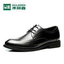 木林森2019新款男鞋商務正裝皮鞋頭層牛皮系帶男士英倫男潮青年 260053