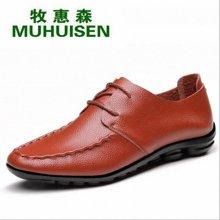 牧惠森新款男士纯色软底系带皮鞋韩版时尚百搭舒适休闲男鞋 M999
