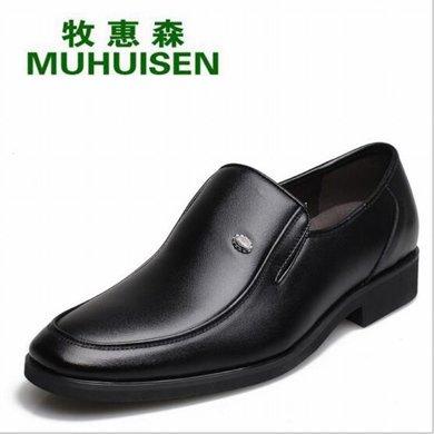 牧惠森新款头层牛皮男士皮鞋商务正装简约舒适百搭休闲?#34892;?M523