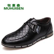 牧惠森新款頭層牛皮男士系帶皮鞋金屬裝飾格紋時尚休閑舒適男鞋 M5876