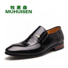 牧惠森新款男士头层牛皮亮面皮鞋简?#21152;?#20262;复古商务男鞋 18578